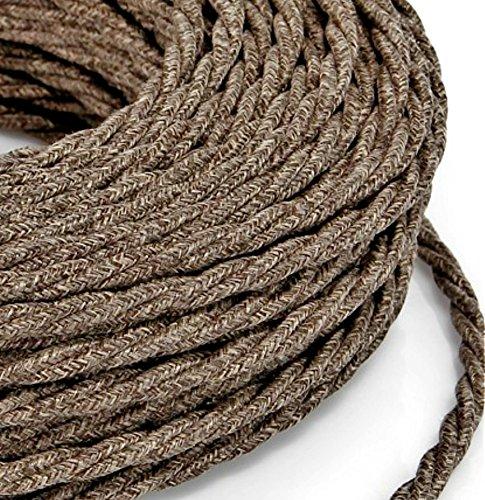 10 mt cavo elettrico treccia trecciato stile vintage rivestito in tessuto colorato filato grezzo canvas lino marrone sezione 3x0,75 per lampadari, lampade, abat jour, design. made in italy