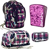 satch by Ergobag Berry Carry 4-teiliges Set Rucksack, Sporttasche, Schlamperbox & Heftebox Lila