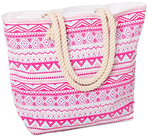 Airee Fairee Womens Large Canvas Beach Bag - Pink
