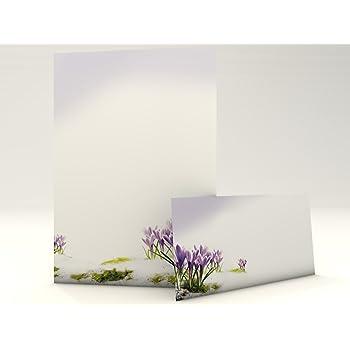 20/passende Briefumschl/äge Motivpapier 40/St/ück 20/Blatt Briefpapier Set mit Mohn-Motiv DIN lang inkl