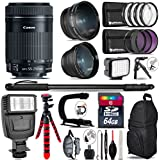 Canon 55-250mm Is STM Lens + Flash + 0.43X Wide Angle Lens + 2.2X Telephoto Lens + LED Kit + Video Stabilizing Handle + UV-CPL-FLD Filters + Macro Filter Kit - International Version