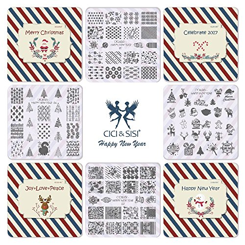 ts Nail Art Stamping Kit Stempel Teller Maniküre DIY Vorlage 4 pieces-happy Neue Jahr (Halloween-rentier-make-up)
