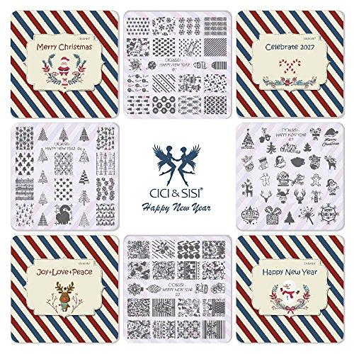 ts Nail Art Stamping Kit Stempel Teller Maniküre DIY Vorlage 4pieces-happy Neue Jahr (Cici Und Sisi Halloween)