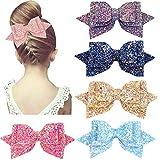 12,7 cm glitter Hair Bows Boutique capelli clips-5pcs multi colore glitter paillettes grandi fiocchi per capelli per bambine Teens Toddlers