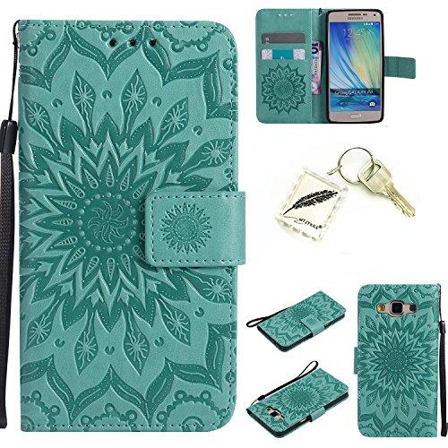 Preisvergleich Produktbild Silikonsoftshell PU Hülle für Samsung Galaxy A5 (2015) A500 (5 Zoll) Tasche Schutz Hülle Case Cover Etui Strass Schutz schutzhülle Bumper Schale Silicone case+Exquisite key chain X1) #KC (1)