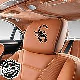 Kit 2 pz Adesivi Poggiatesta Sedili Pelle Scorpione per Abarth Fiat 500 Punto Stickers Auto Decal Intagliati Altissima Qualità - Rosso Opaco