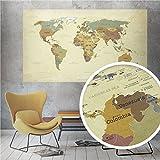 beneart® Weltkarte Vintage - Poster XXL - Europakarte - Geschenkideen - Wandbild alt - 140 x 82 cm