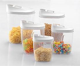 Binnan 5 Stücke Schüttdosen Vorratsdosen Set aus Kunststoff,Vorratsbehälter für Müsli,Cornflakes