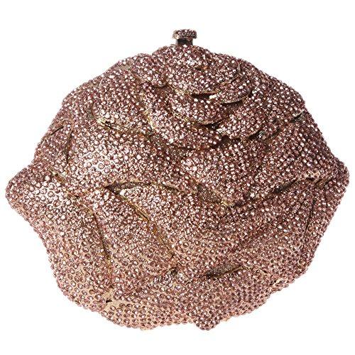 Damen Clutch Abendtasche Handtasche Geldbörse Schick Strass Kristall Blume Oval Tasche mit wechselbare Trageketten von Santimon(5 Kolorit) Champagner