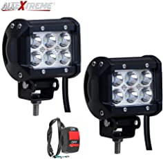 AllExtreme EX6FWS2 6 LED Fog Light Bar Waterproof Spot Beam Driving Cube Worklight with Switch and Mounting Bracket for Motorcycles and Cars (18W, White Light, 2 PCS)