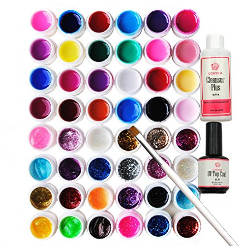 Coscelia Nailart UV Nagelgel 48 Farben Profi-UV Gel Farbgel + Cleanser Plus+ Topcoat+UV Pinsel ,einen bunten Mix