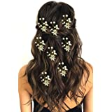 Hair Flare 2207 Hair Pin Accessories For Women Hair Pins For Wedding, Anniversary- Pack Of 8, White And Golden