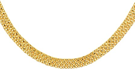 AanyaCentric Gold Plated Cable Imitation Golden Brass Alloy Flat Neck Chain for Men