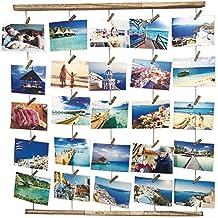 Uping Marco de Fotos de Pared de Madera | Con Cuerda y 30 Pinzas de Madera | 66CM * 74CM | Decoración de la pared, idea del regalo, para foto dibujo memorándum cartel etc. (Color de Madera Claro)