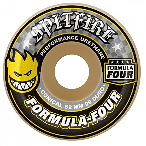 RUEDAS SPITFIRE (JEU DE 4) F4 99D CONICAL YELLOW PRINT 52MM