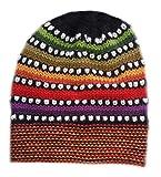 Alpacaandmore Damen Beanie Mütze Strickmütze peruanische Alpakawolle verschiedene Farben Einheitsgröße (rot/bunt)