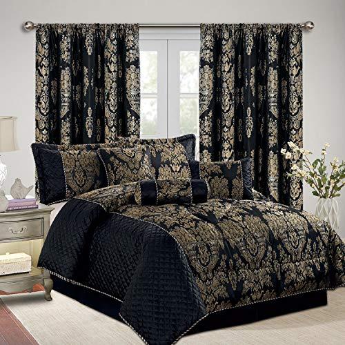 Jacquard, luxuriöses, siebenteiliges Bettdecken-Set, Tagesdecke & passende Vorhänge (228,6x 228,6cm), Jaquard-Gewebe, schwarz, King Size (Xl Twin Bettwäsche-sets)