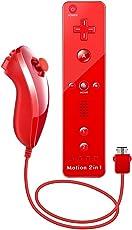 WII Controller Motion Plus, XW15 Nintendo WII Ferbedienung und Nunchuk mit Silikonhülle und Handschlaufe für WII und WII U Rot (Drittanbieter Produkt)