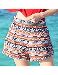 Pantalones cortos del altavoz del viento nacional Xiaboximiya que pantalones playa fluyen sukau cintura pierna ancha pantalones mujer casual,M,Shorts de talle alto