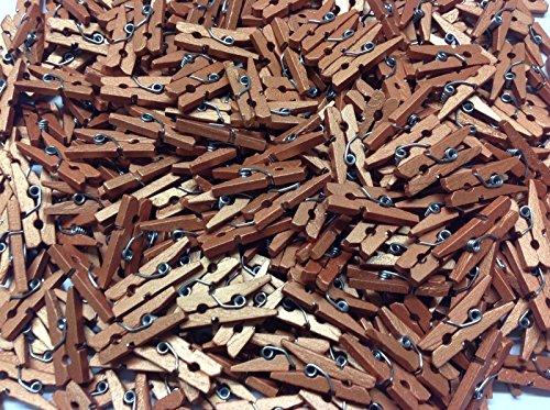 Packungen von 100–25mm Mini Holz Craft Pegs–Farbe wahl und Pack Menge Wahl kupfer (Mini 100k 4)