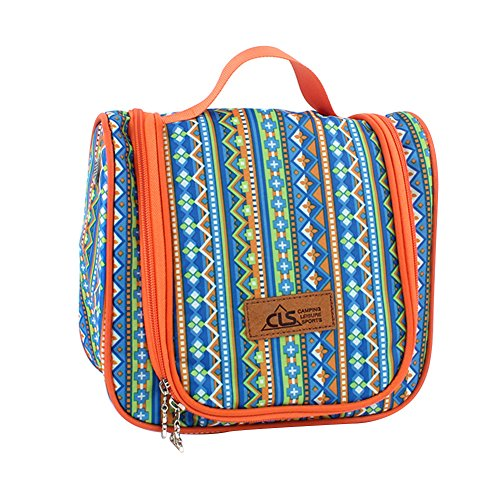 Large Capacity Foldable Brush Bag Portable Cosmetic Pocket with a Hook Ethnic-style for Traveling Camping