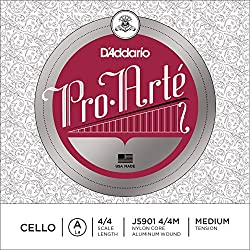 D'Addario J5901-4/4M Pro Arte - Cuerda de la para violonchelo (4/4, aluminio, tensión media)