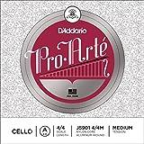D'Addario Bowed Corde seule (La) pour violoncelle D'Addario Pro-Arte, manche 4/4, tension Medium