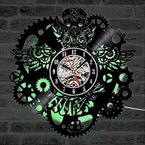 cchpfcc Disco de Vinilo del búho Reloj de Pared Gear Cogs Night Owl Steampunk LED Reloj de Pared Decoración del hogar Ruedas dentadas Animal Reloj de Pared Moderno