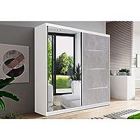 E-MEUBLES Armoire de Chambre avec 2 Portes coulissantes 1 Porte avec Miroir | Penderie (Tringle) avec étagères (LxHxP…