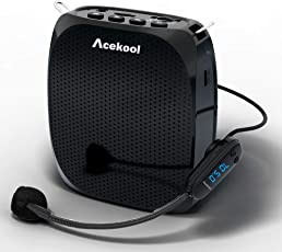 Acekool Portable Wireless Voice Amplifier & Microphone with Waistband, MP3 Player/ U Disk/ TF, 1800mAh Rechargeable Batteries for Teachers, Speakers, Yoga Instructors, Gym Directors, Coaches and More