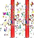 takestop® Tubo SPARACORIANDOLI Tubi Set 2 Pezzi Colorati Tubo Cannone 50 CM Art_69262 Festa Party Compleanno Laurea Matrimonio SPARA CORIANDOLI Fantasia Casuale
