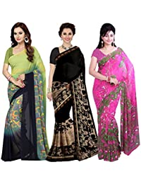 Ishin Combo Of 3 Faux Georgette Multicolor Printed Women's Saree/Sari