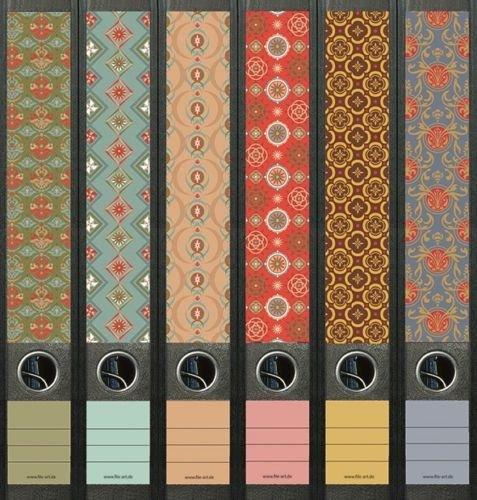6er Set Ordnerrücken für schmale Ordner Pattern Muster Ordner Aufkleber Etiketten Deko 607