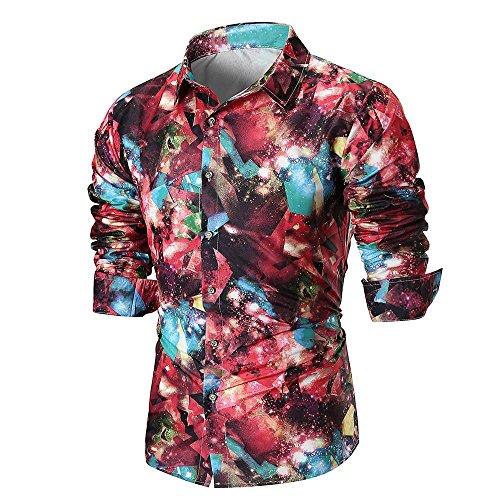 Beikoard camicie o camice camicetta superiore da donna stampata a maniche lunghe con maniche lunghe casual da uomo(red,xxl)