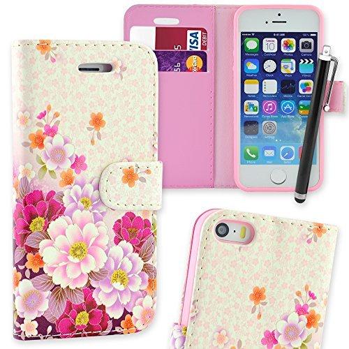 Connect Zone iPhone 5/5G/5S/SE haute qualité PU étui rabat portefeuille cuir Pochette + Protège Écran + Chiffon De Polissage Et Stylet - Multicolore Motif Fleur, iPhone 5/5G/5S/SE