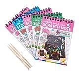 NBEADS 5Sets Rainbow Kratzpapier Art kit-50Blatt Mini Scratch Spiralbindung Note Book + 3Pcs Bamboo Stylus für Kinder Mädchen, um Art Fun