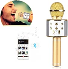 Clomana Wireless Mic Portable Handheld Singing Machine Condenser Microphones Mic For All iOS/Android Smartphones With Bluetooth