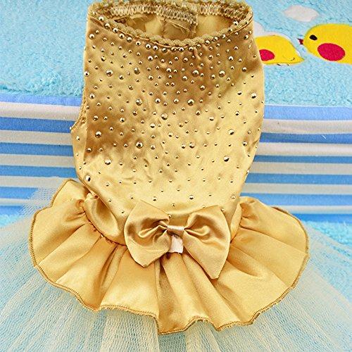 GEZICHTA - Vestido de Boda para Mascota, diseño de Perro pequeño, con pedrería y Lazo, Faldas Plisadas de satén, para Gatos, Cachorros, Bodas, Fiestas y niñas