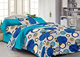 #3: Story@Home Fantasy Floral 100 % Cotton Single Size Bedsheet with 1 Pillow Cover, Blue