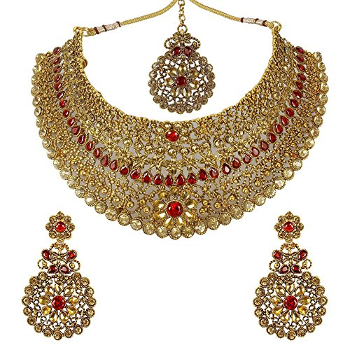 MUCH MORE Red, Lct Gold Plated Metal Choker Necklace Set For Women
