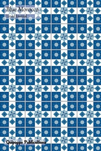 Blue Morocco Lined Journal: Medium College Ruled Notebook With Almost Checkers Pattern Cover por Quipoppe Publications