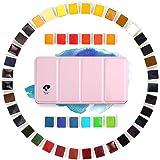 Paul rubens – 48 färger akvarell-färgset – Artist Grade Solid Cakes-reseset – bärbar med rosa metalllåda