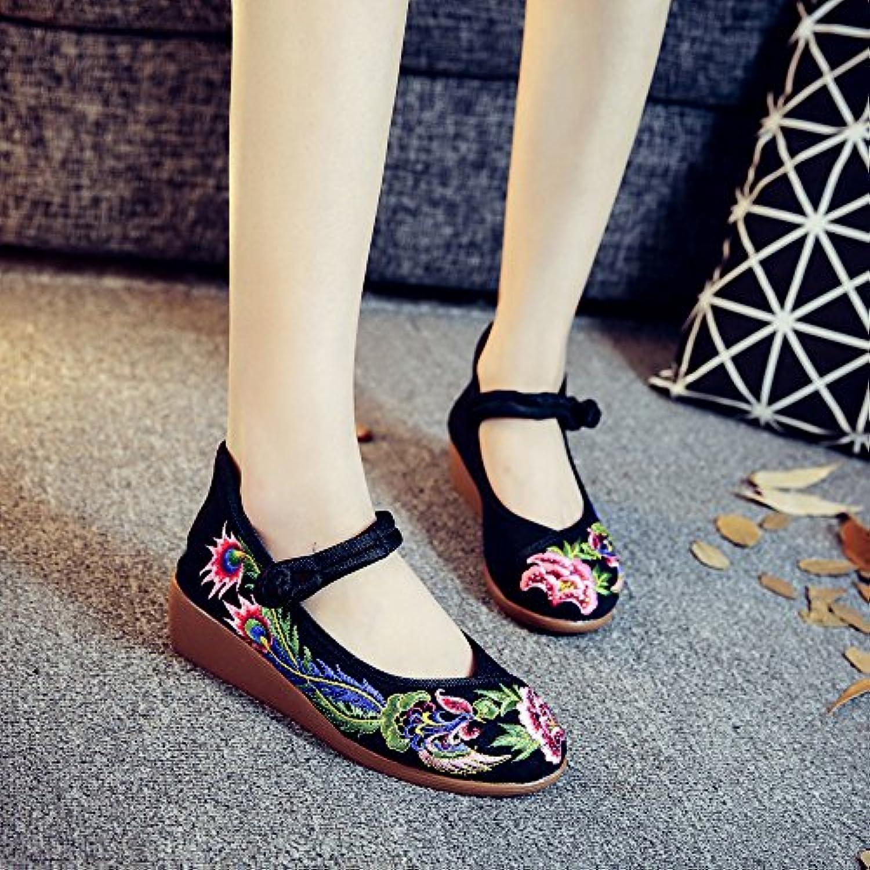 KHSKX-Old Beijing Zapatos De Tela Bordada La Nueva Nacionalidad Chino Viento Volver A La Antigua La Hembra Pendiente...