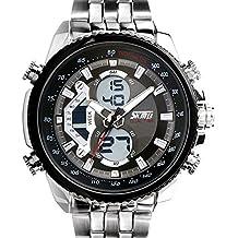 SunJas Reloj Electrónico de Negocios de Cuarzo Reloj Deportivo de Multifunciones Impermeable de 30m con Banda Ajustable de Acero para Hombres