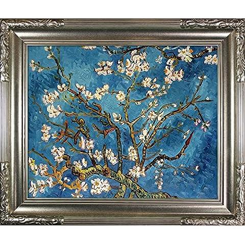 OverstockArt Rami di mandorlo In fiore di Van Gogh, colore: champagne, Firenze-Cornice portafoto, dipinta a mano, olio su tela, legno, multicolore