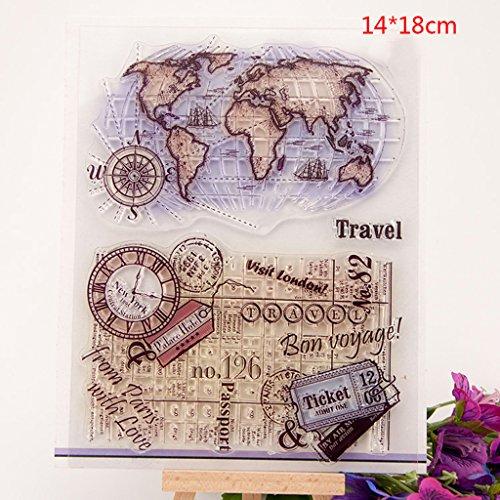 ECMQS World Map DIY Transparente Briefmarke, Silikon Stempel Set, Clear Stamps, Schneiden Schablonen, Bastelei Scrapbooking-Werkzeug