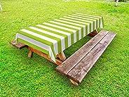 Orange Venue Soyut Piknik Masa Örtüsü, Doğal Renklerde Tekrar Eden Şerit Çalışmaları, Leke Tutmaz Dekoratif Di
