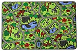 Primaflor - Ideen in Textil Kinderteppich Zoo - 140cm x 200cm, Schadstoffgeprüft, Anti-Schmutz-Schicht, Teppich mit Straßen und Tieren für Jungen & Mädchen