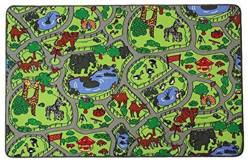 Kinderteppich ZOO - 95cm x 200cm, Schadstoffgeprüft, Anti-Schmutz-Schicht, Teppich mit Straßen und Tieren für Jungen & Mädchen