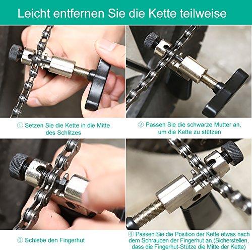 YISSVIC Kettennietdrücker Werkzeug Fahrradketten Entferner Werkzeug Fahrradreparatur-Set für Entfernen der Fahrrad Ketten schwarz - 4